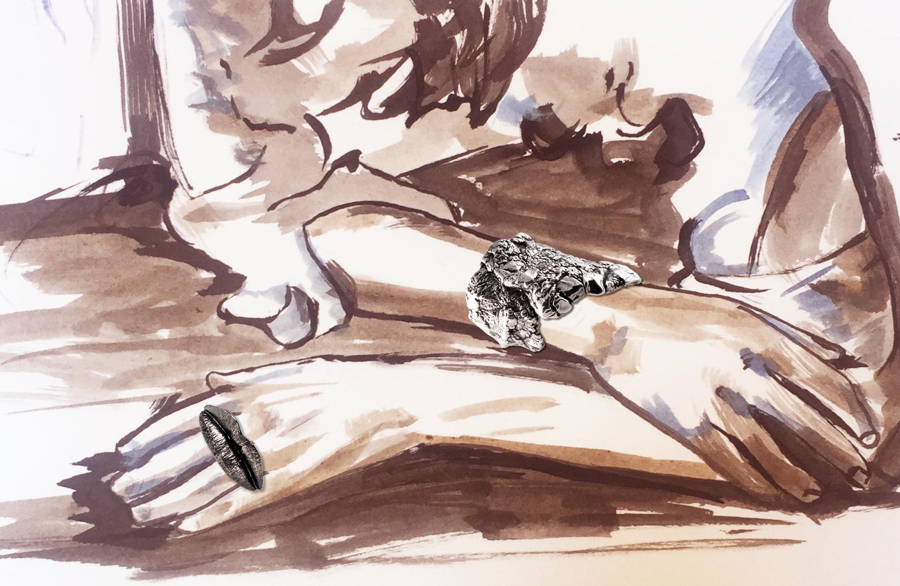 13- Jannis Kounellis Labbra (Lips) ring; Liliane Lijn Pointed Meteor cuff