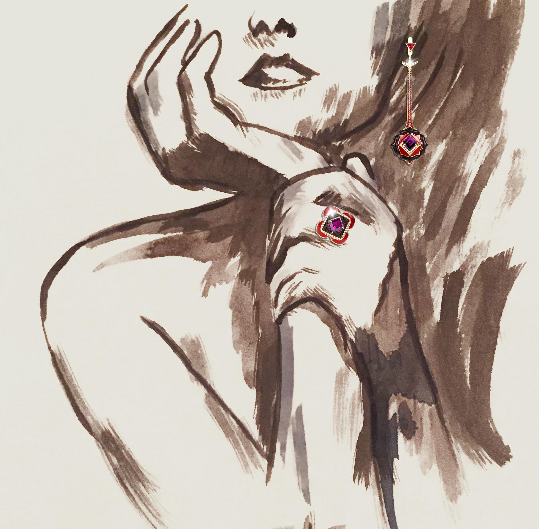 Noor Fares Muladahara earrings, ring (fare il click su earrings che ti porta a orecchini e su ring che ti porta al ring