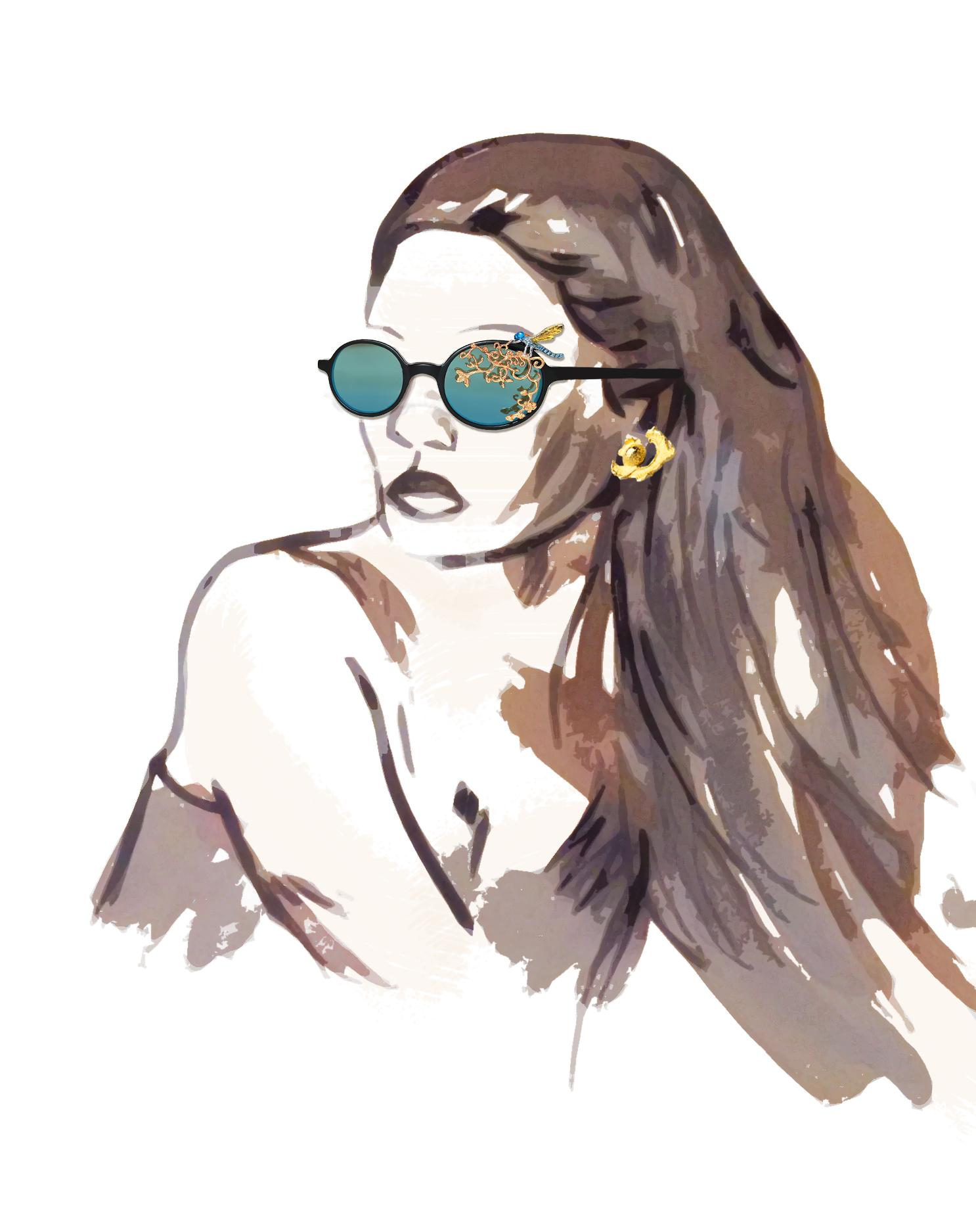 19- Avish Khebrezadeh Maskhara with Dragonfly sunglasses; Kendell Geers Within Earshot earrings