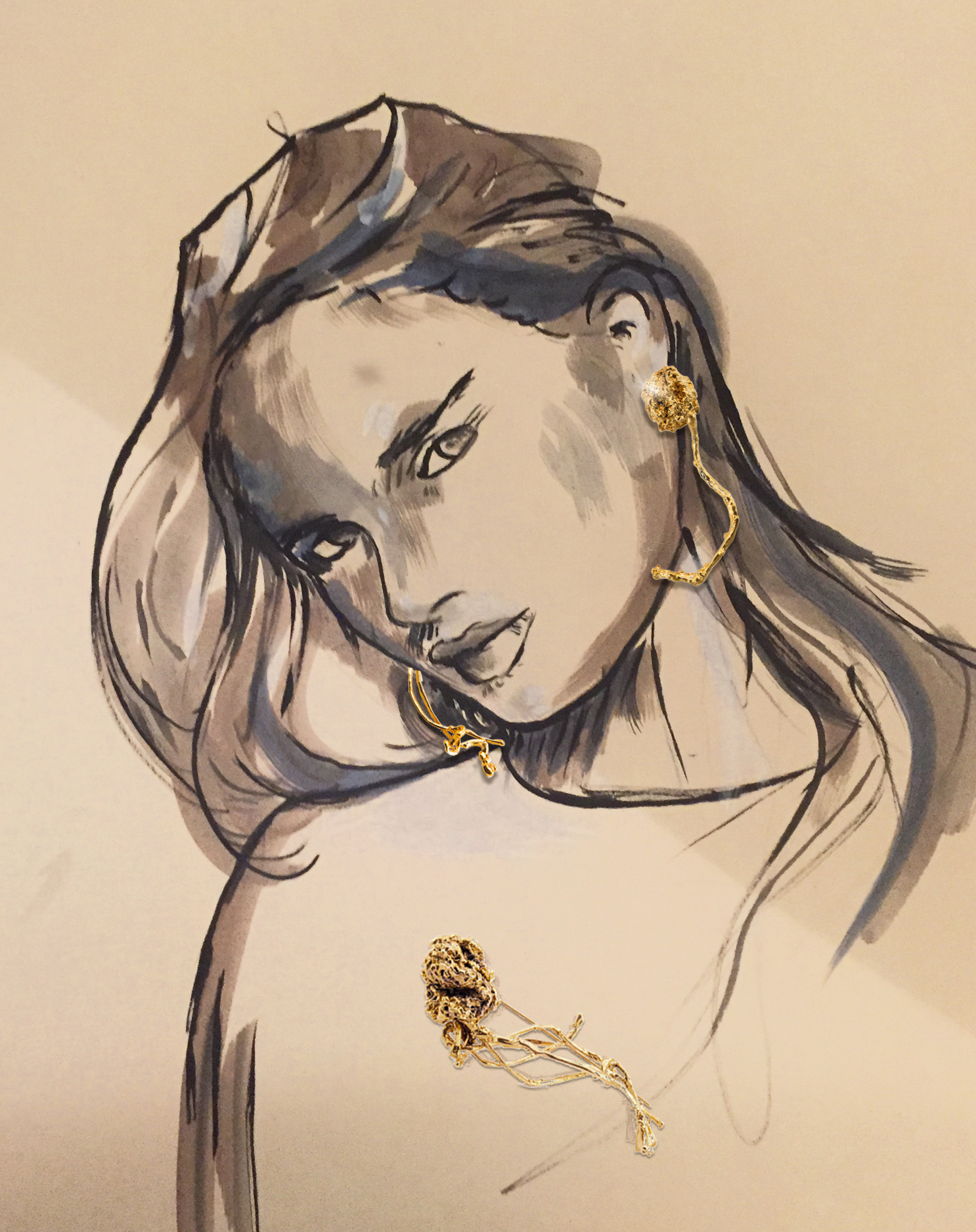 25- Jacqueline de Jong Pommes de Jong earrings, brooch
