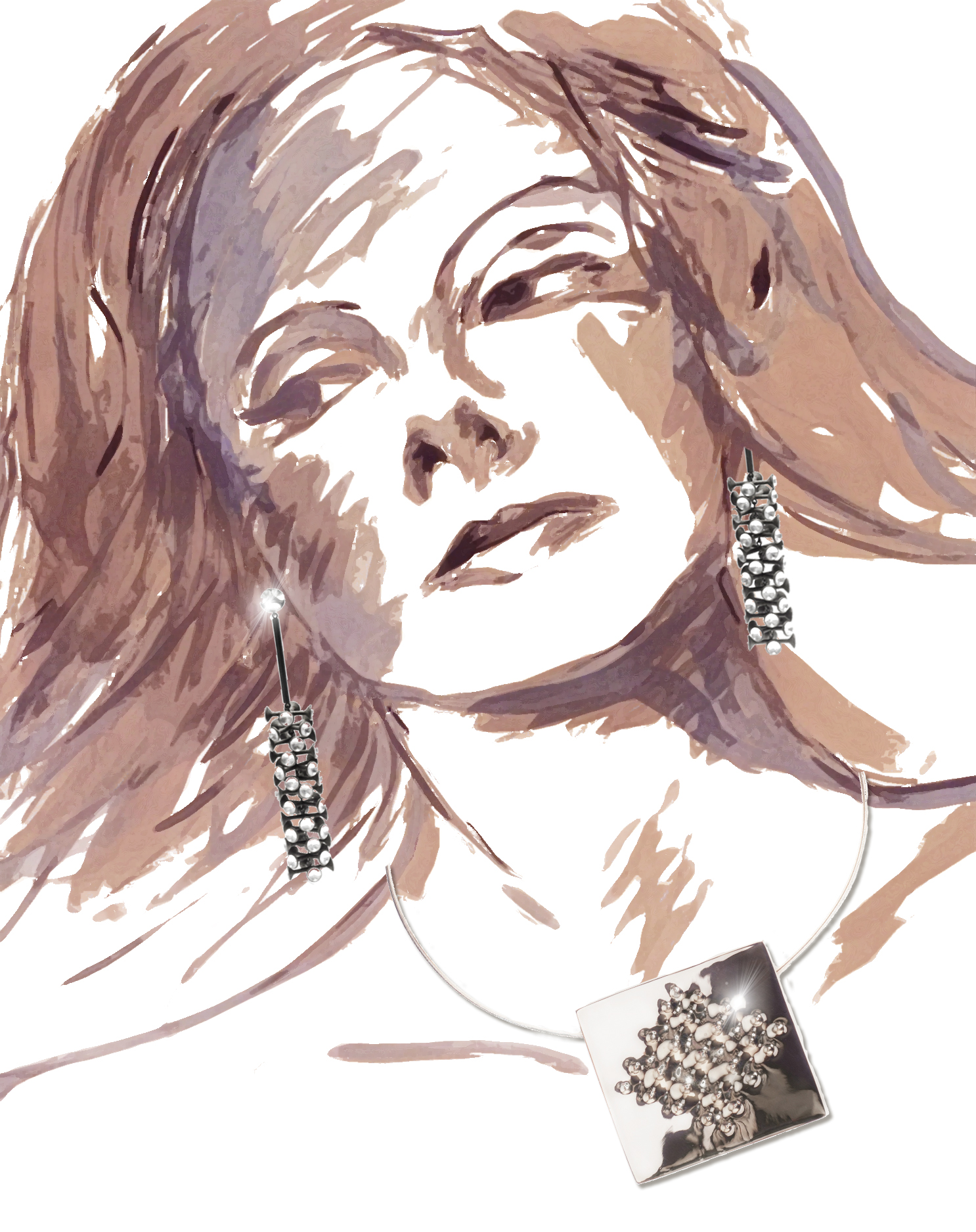 27- Enrico Castellani Superficie necklace; Carol Bove Untitled earrings