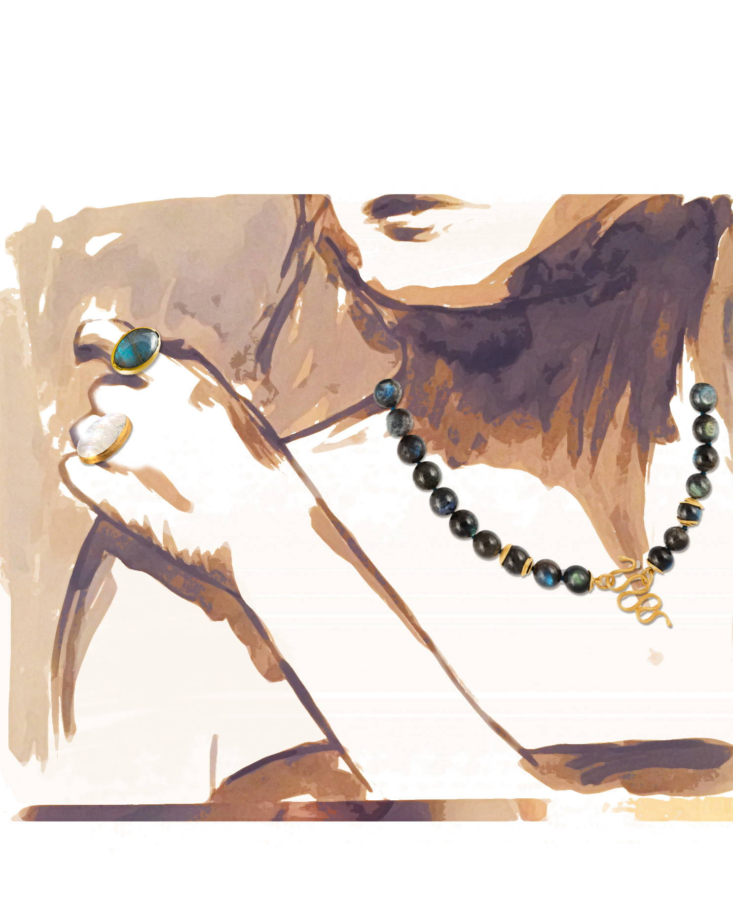 31- Rebecca Horn Untitled necklace, ring, ring
