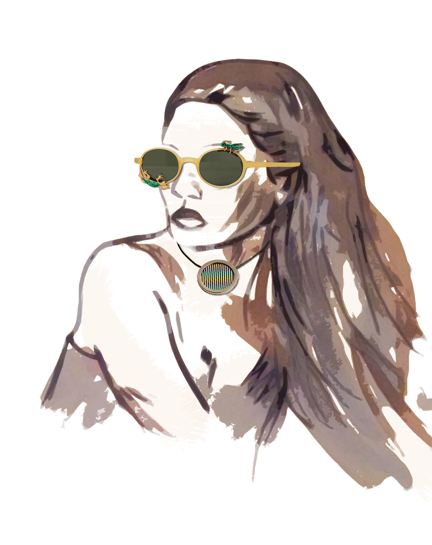 41- Avish Khebrezadeh Maskhara with Lizard and Cricket sunglasses; Carlos Cruz Diez Chromointerférence necklace