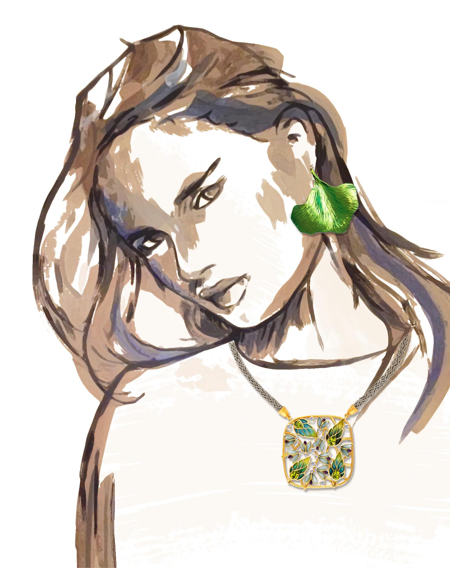 5- Ilya and Emilia Kabakov The Fly neckalce; Ania Guillaume Butterfly Wings earrings